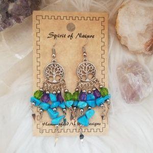 Boho Tree of Life Earrings Blue Purple Green